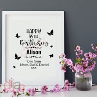 HAPPY BIRTHDAY with BUTTERFLIES<br>PERSONALISED<br>15 x 15 cm