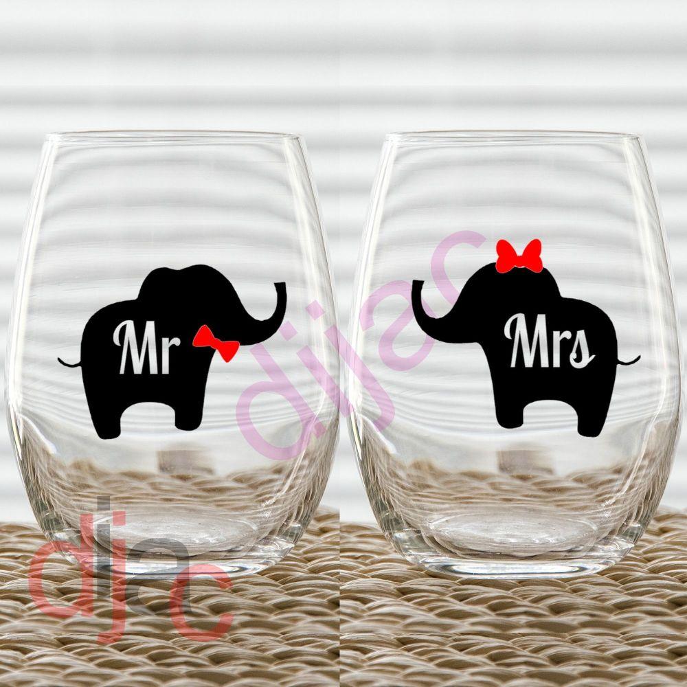 MR & MRS ELEPHANT (d3) VINYL DECALS