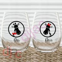 MR & MRS GIRAFFE (d1) VINYL DECALS