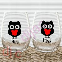 MR & MRS OWL VINYL DECALS