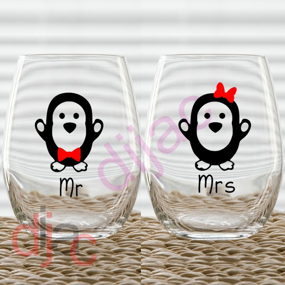 MR & MRS PENGUIN VINYL DECALS