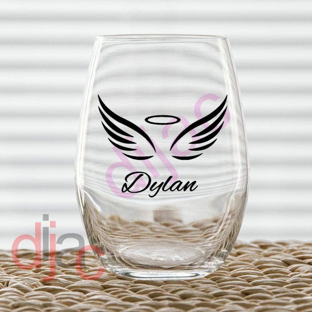 WING WITH NAME DECAL<br>7.5 x 6 cm