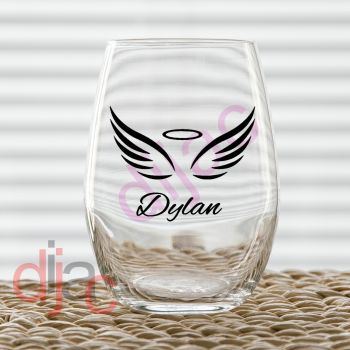 WING WITH NAME DECAL7.5 x 6 cm