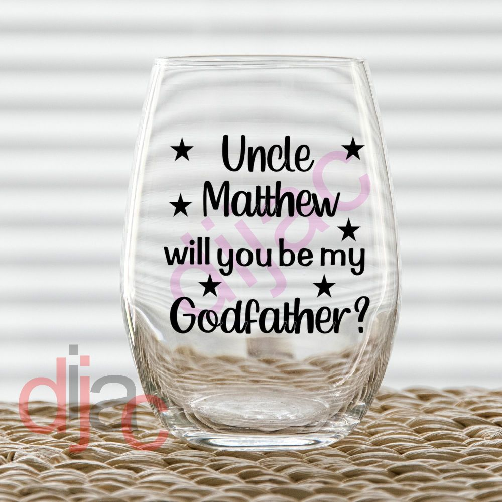 WILL YOU BE MY GODFATHER?<br>7.5 x 7.5 cm
