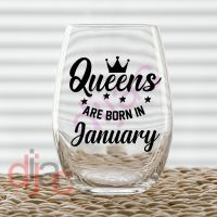 QUEENS ARE BORN IN....<br>7.5 x 7.5 cm
