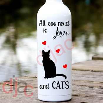 ALL YOU NEED IS LOVEAND CATS8 x 17.5 cm