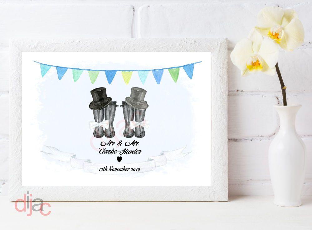WEDDING WELLINGTONS PRINT MR & MR (D2)