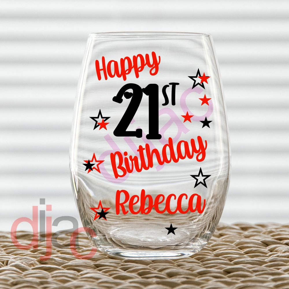 BIRTHDAY WITH STARS DECAL