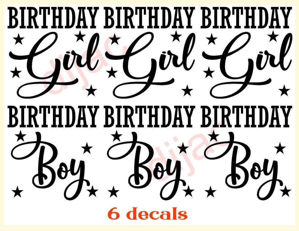 BIRTHDAY BOY x 3BIRTHDAY GIRL x 37.5 x 7.5 cm
