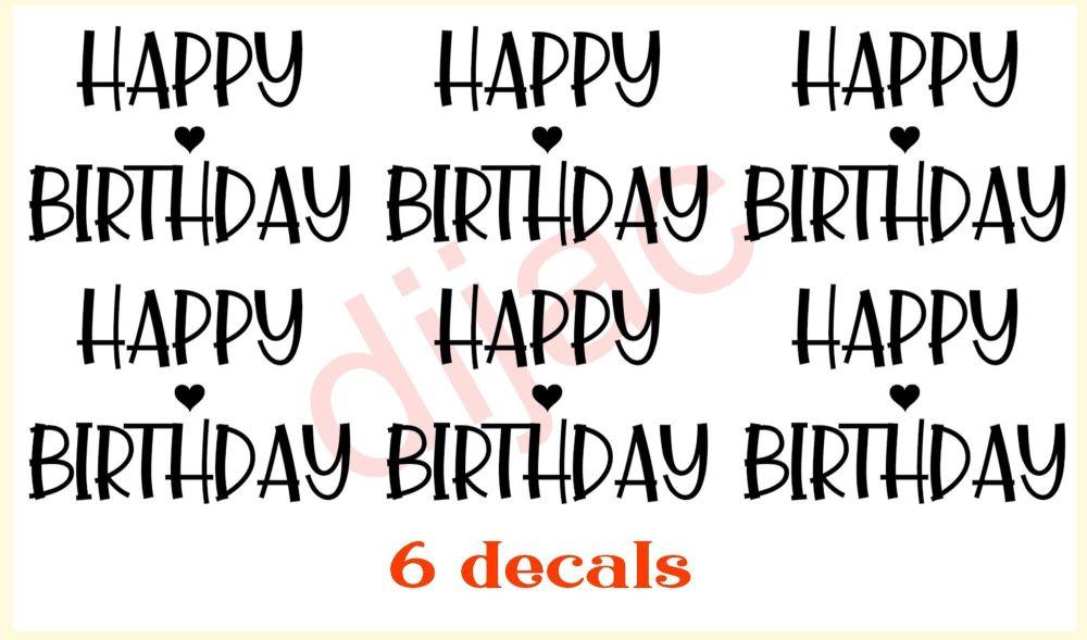 HAPPY BIRTHDAY x 6<br>7.5 x 5 cm