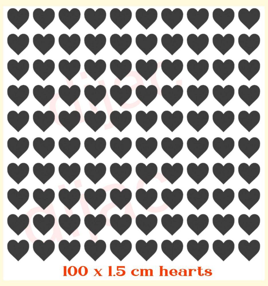 HEARTS x 100<br>EACH 1.5 cm