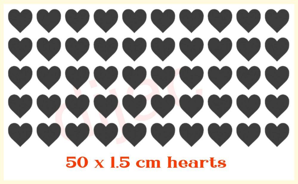 HEARTS x 50EACH 1.5 cm
