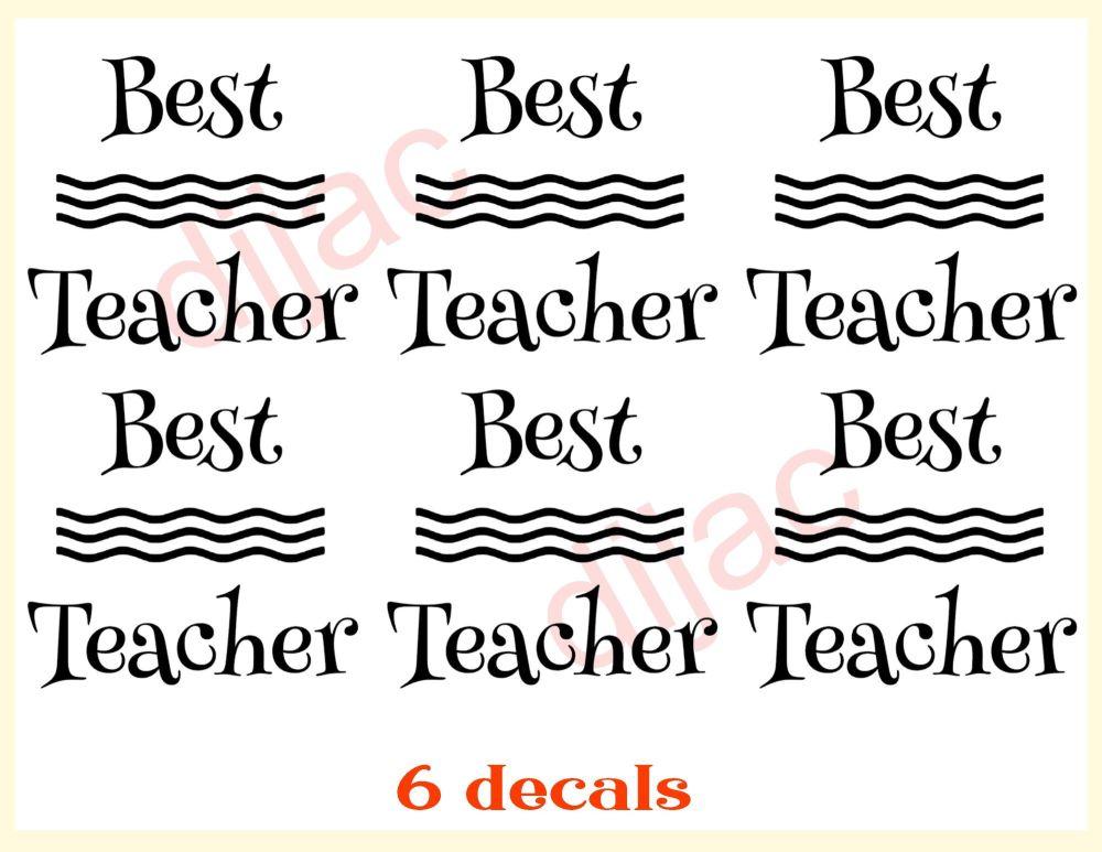 BEST TEACHER x 6<br>7.5 x 7.5 cm