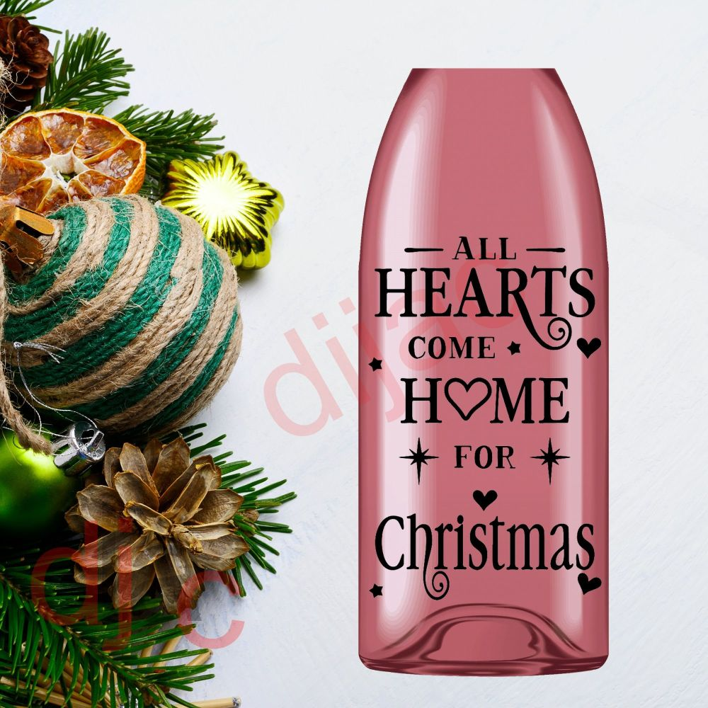 ALL HEARTS COME HOME FOR CHRISTMAS9 x 14 cm decal