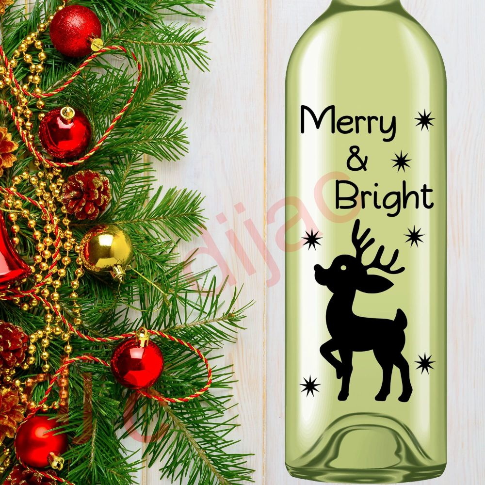MERRY AND BRIGHT (D2)8 x 17.5 cm decal