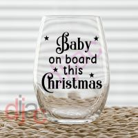 BABY ON BOARD THIS CHRISTMAS<br>7.5 x 7.5 cm decal