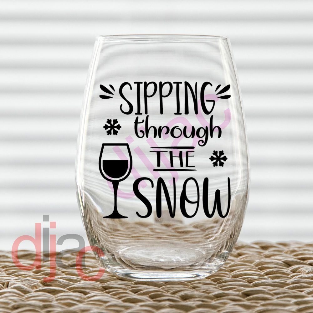 SIPPING THROUGH THE SNOW7.5 x 7.5 cm decal