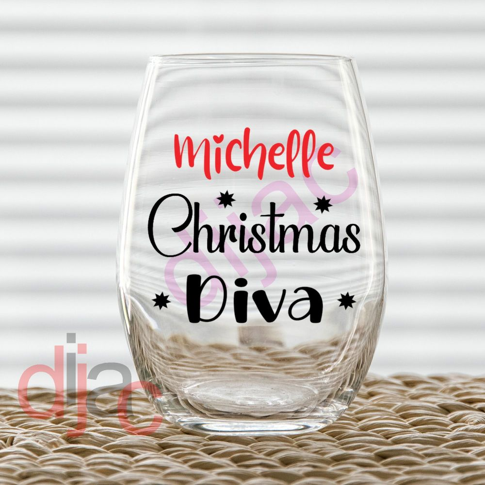 PERSONALISED CHRISTMAS DIVA<br>2 part decal<br>7.5 x 7.5 cm decal