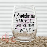 CHRISTMAS MOVIE WATCHING WINE<br>single colour<br>7.5 x 7.5 cm decal