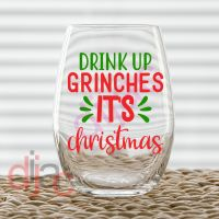 DRINK UP GRINCHES<BR>2 colour<br>7.5 x 7.5 cm