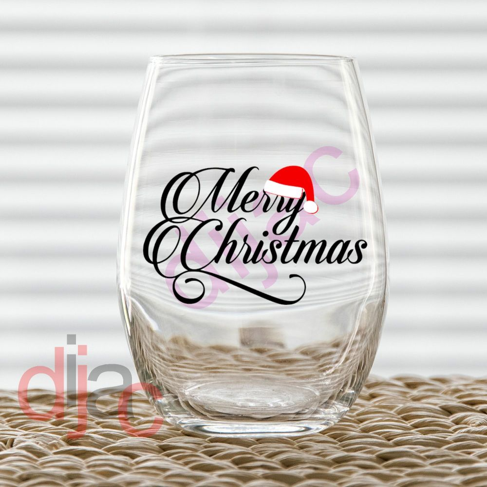 MERRY CHRISTMAS WITH HAT<br>7.5 x 4.5 cm decal