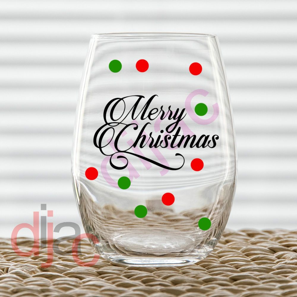 MERRY CHRISTMAS WITH DOTS7.5 x 4.5 cm decal