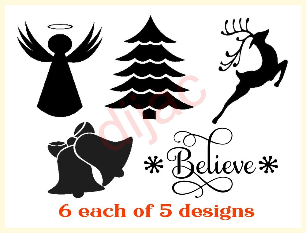 CHRISTMAS MIXED DECALS X 30