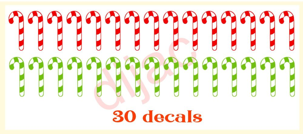 CANDY CANES X 30RED & GREEN3.5 x 1.3 cm