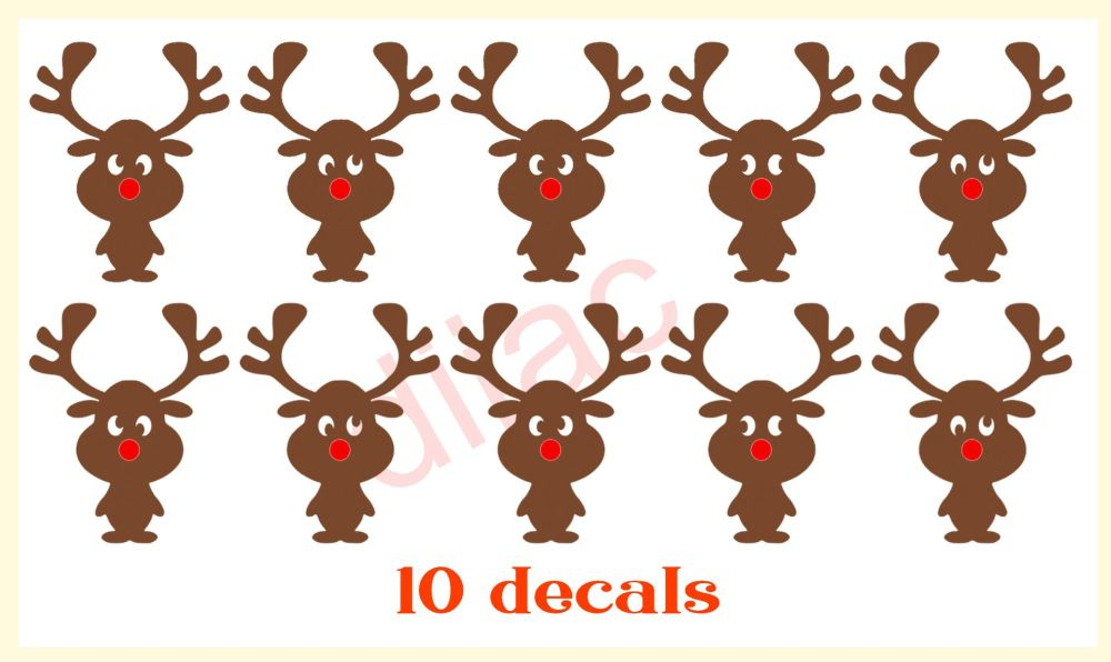 WONKY EYE REINDEERS x 10<br>2 colours<br>5 x 4 cm