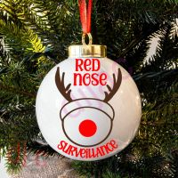 RED NOSE SURVEILLANCE<BR>BAUBLE DECAL