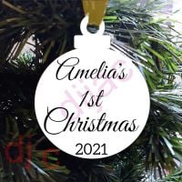 BABY'S FIRST CHRISTMAS<br>Personalised<br>8cm ACRYLIC DECORATION