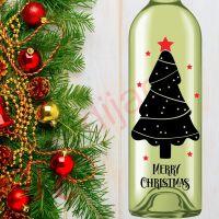 MERRY CHRISTMAS TREE<br>8 x 17.5 cm decal