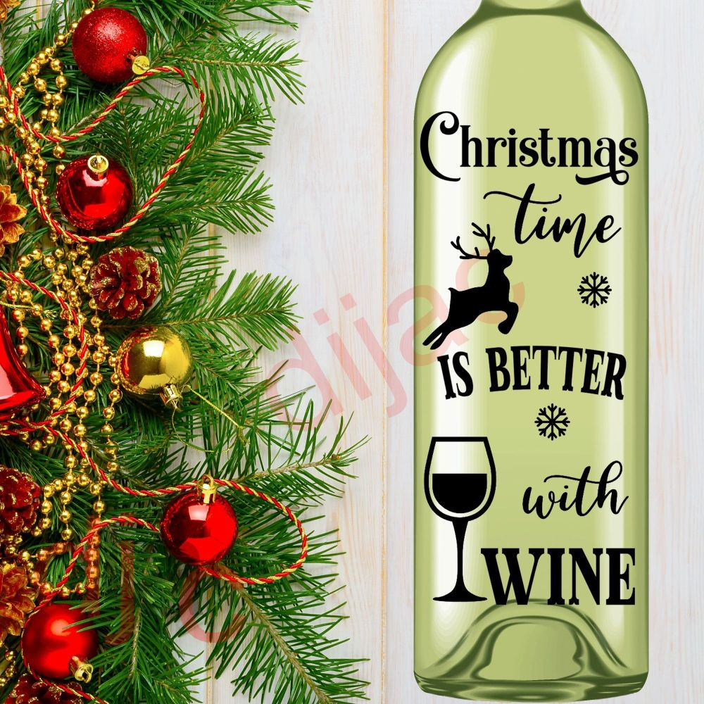 CHRISTMAS IS BETTER WITH WINE8 x 17.5 cm decal