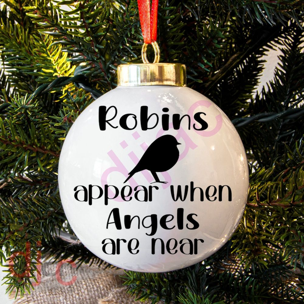 ROBINS APPEAR WHEN ANGELS ARE NEAR<BR>BAUBLE DECAL