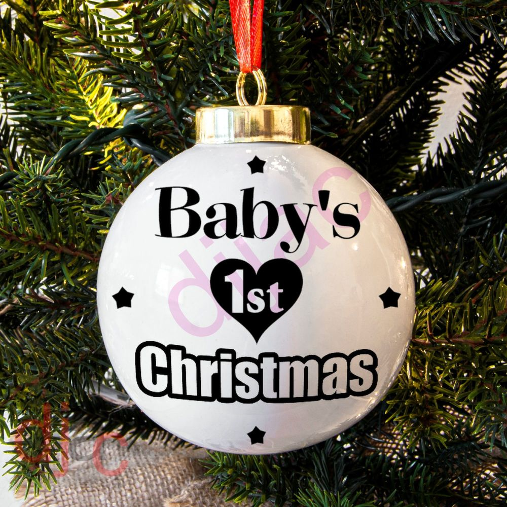 BABY'S 1ST CHRISTMAS (D4)<BR>BAUBLE DECAL