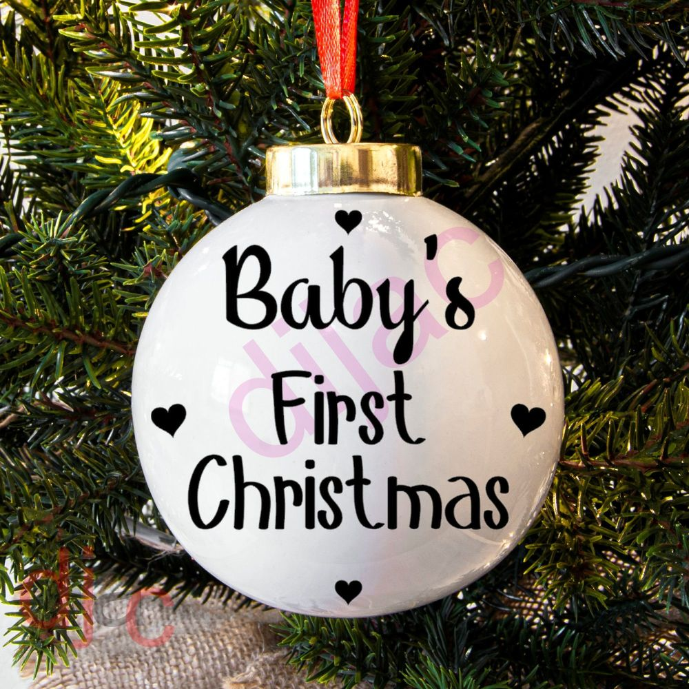 BABY'S 1ST CHRISTMAS (D5)<BR>BAUBLE DECAL