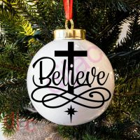 BELIEVE<BR>BAUBLE DECAL