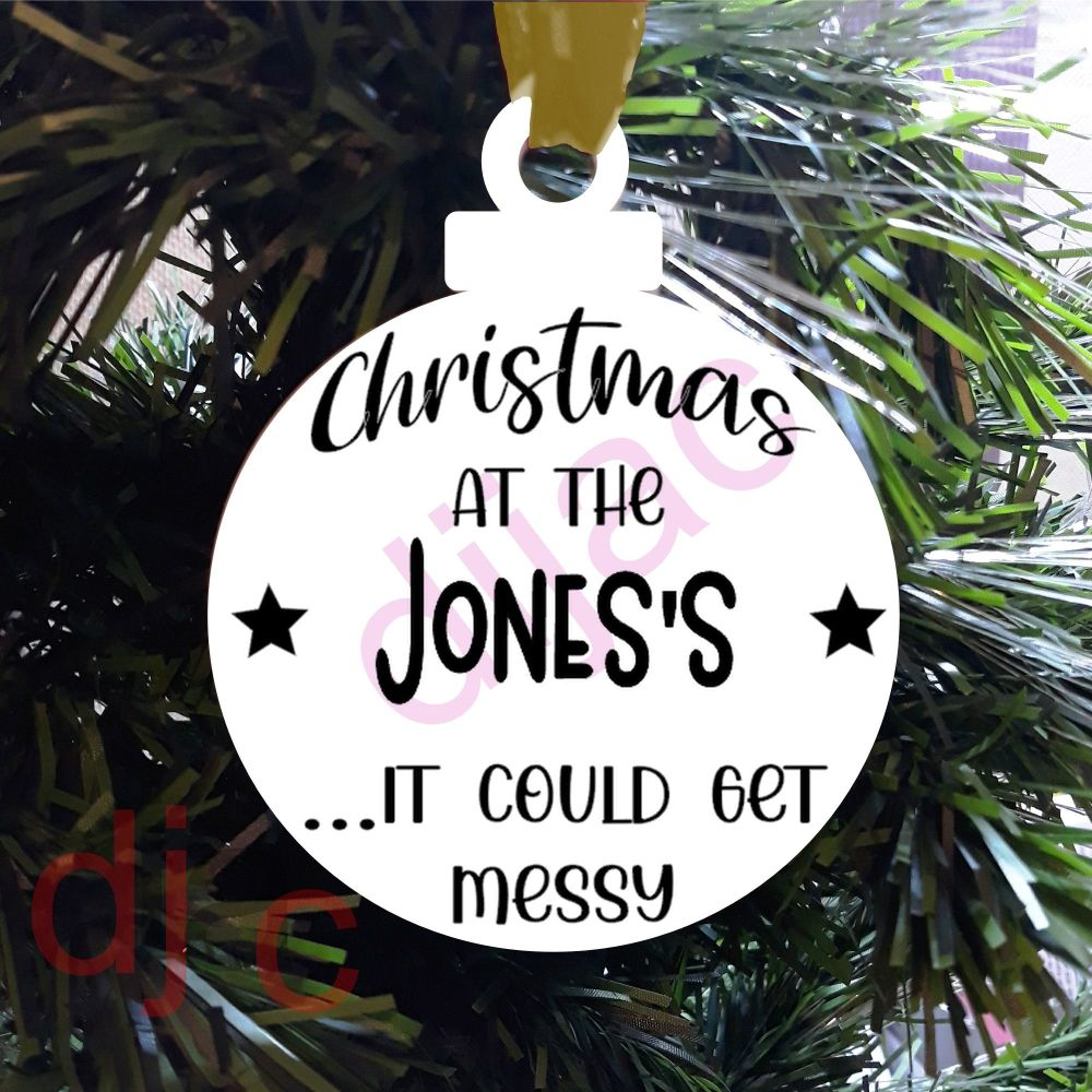 CHRISTMAS AT THE...Personalised8cm ACRYLIC DECORATION