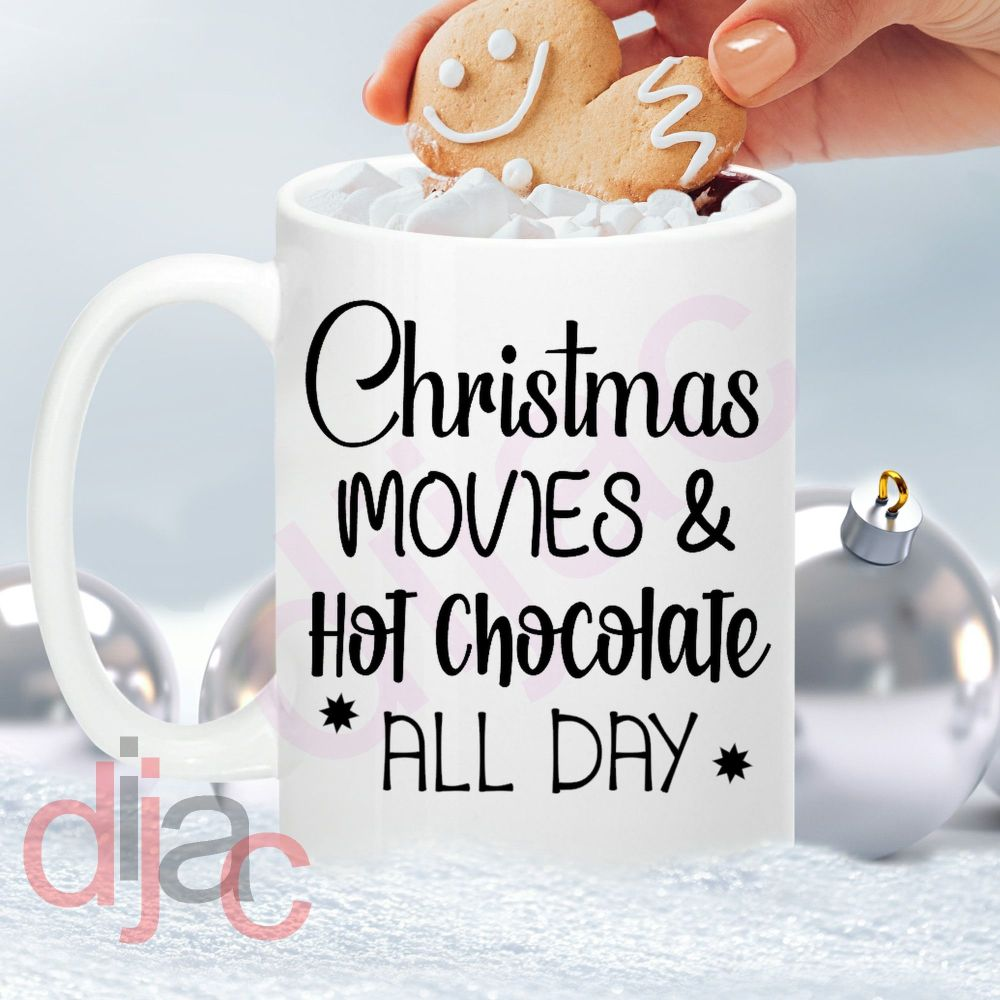 CHRISTMAS MOVIES AND COCOA ALL DAY8 x 8.5 cm decal