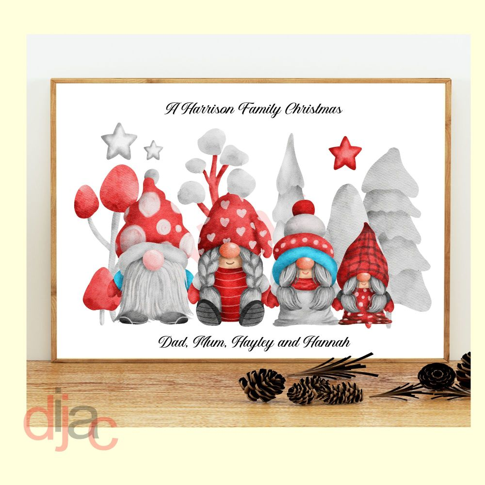 <!-- 001 -->4 CHARACTER CHRISTMAS GNOMES (D3) FAMILY PRINT