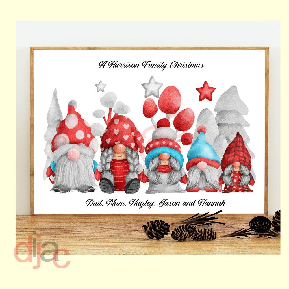 <!-- 001 -->5 CHARACTER CHRISTMAS GNOMES (D3) FAMILY PRINT