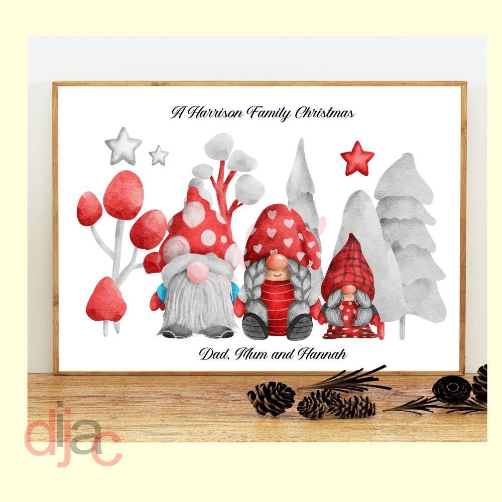 CHRISTMAS GNOMES (D3) FAMILY PRINT