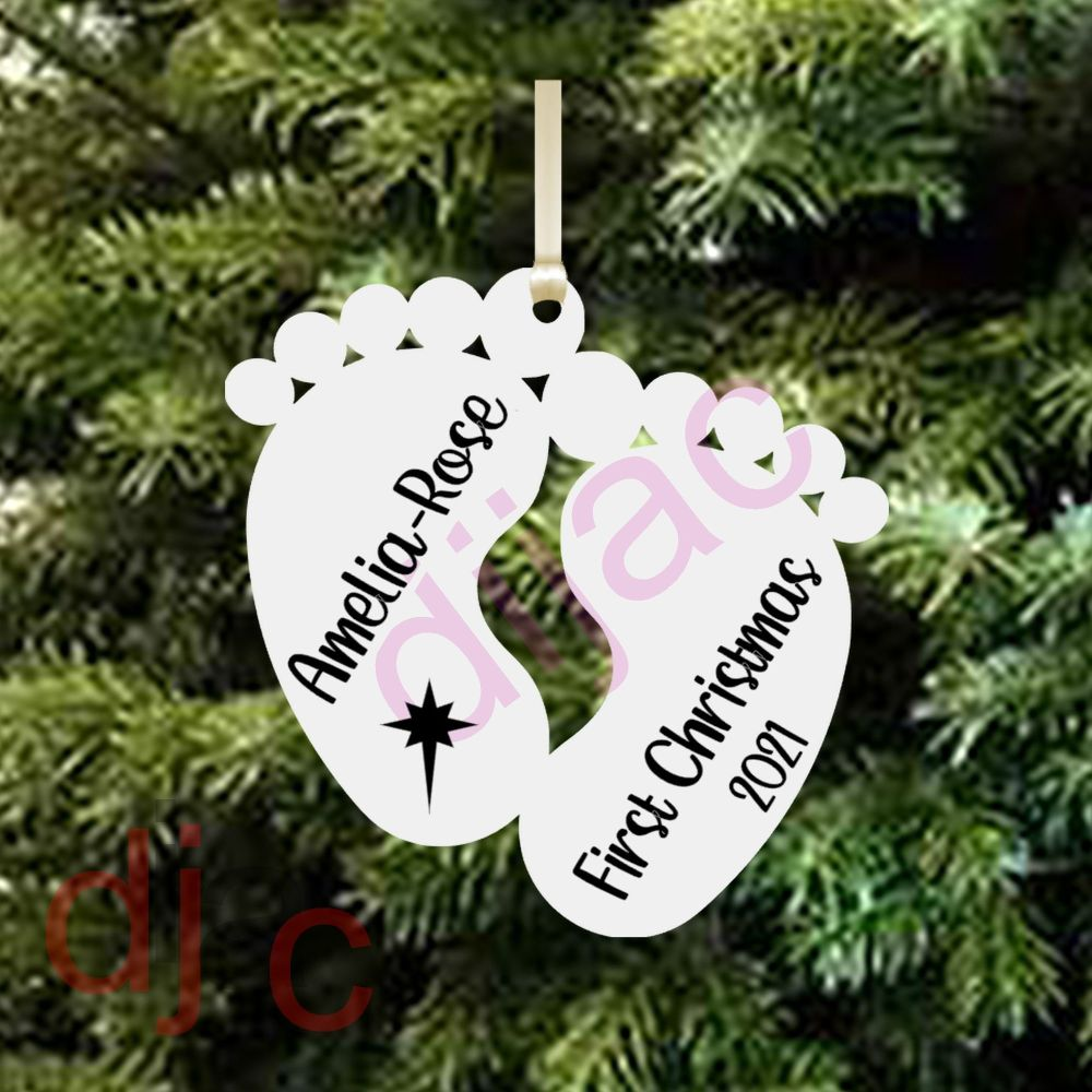 BABY'S FIRST CHRISTMASPersonalised (D2)10 cm ACRYLIC FEET