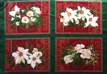 Holiday Finery - Christmas Rose Table Place Mats Fabric Panel 1086