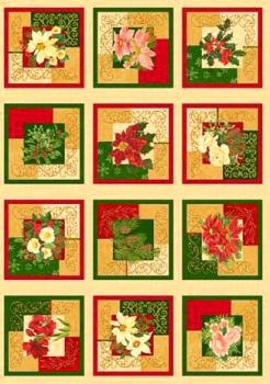 Holiday Finery - 12 Christmas Rose Squares Panel 1086N