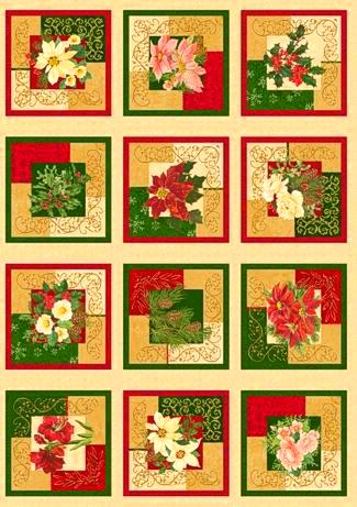 Holiday Finery - 12 Christmas Rose Squares Panel