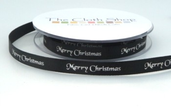 B12330-10 Gold Merry Christmas on Black Satin 10mm