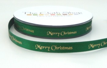 B12330-455 Gold Merry Christmas on Green Satin 10mm