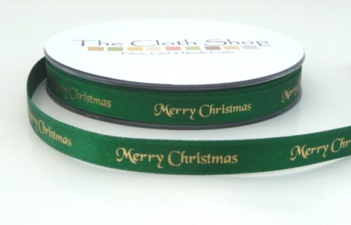 B12330-455 Gold Merry Christmas on Green Background