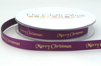 B12330-49 Gold Merry Christmas on Purple Satin 10mm